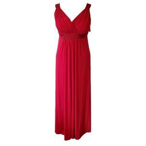 David's Bridal Red Sleeveless Jersey V-neck F13095
